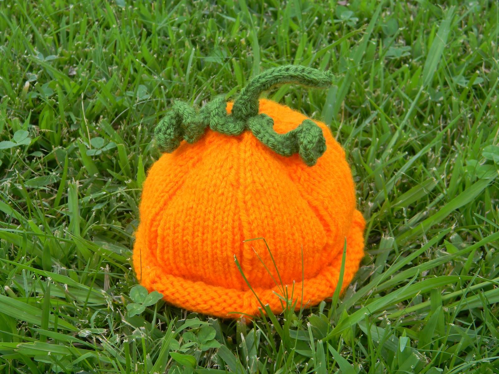 Pumpkin Hat Knitting Pattern : Brandy s Creations: Knitted Pumpkin Baby Hat