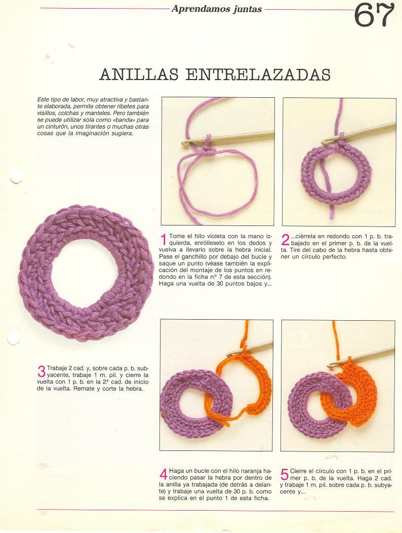 patrones asgaya: ANILLAS ENTRELAZADAS A CROCHET
