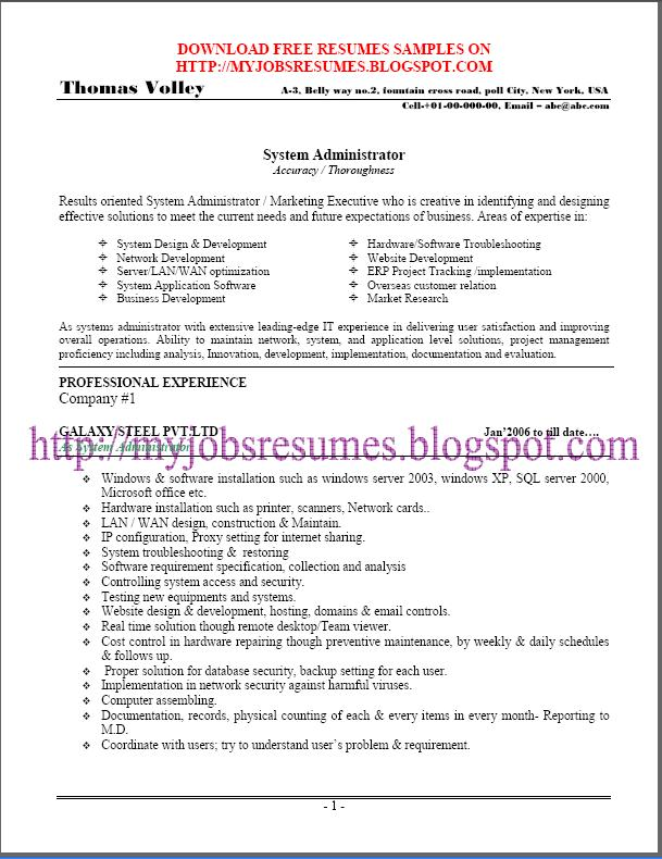 free resume samples for system administrator page no 01. Resume Example. Resume CV Cover Letter