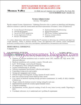 Free Resume Samples For System Administrator   Page No :01  System Administrator Resume