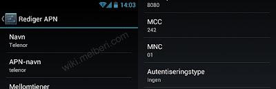 Internett Oppsett Telenor Android HTC Galaxy