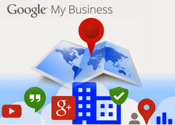 The Google My Business logo over a cartoon graphic of a map and a pin.  The map is over various Google graphics, including YouTube's play button, Google+, and more.