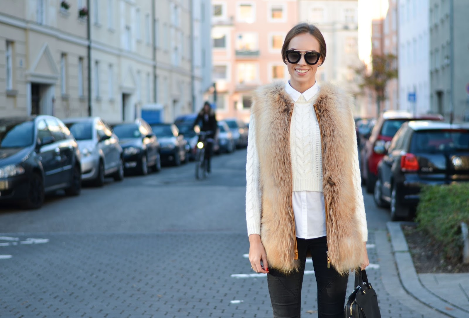 kristjaana mere fox fur vest white sweater black jeans prada sunglasses