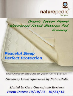 NaturePedic Mattress Pad Blogger Opp, signups close 10/8
