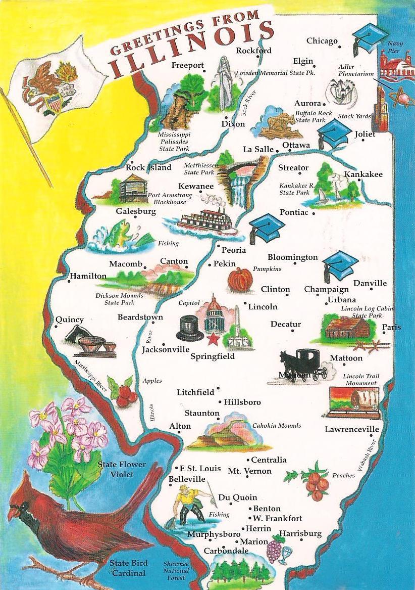 more postcards stamps usa map illinois. Black Bedroom Furniture Sets. Home Design Ideas