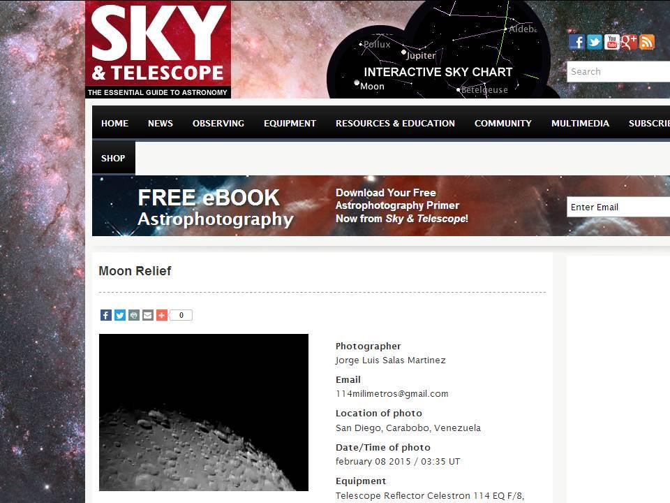 Mi captura lunar en el portal Sky&Telescope