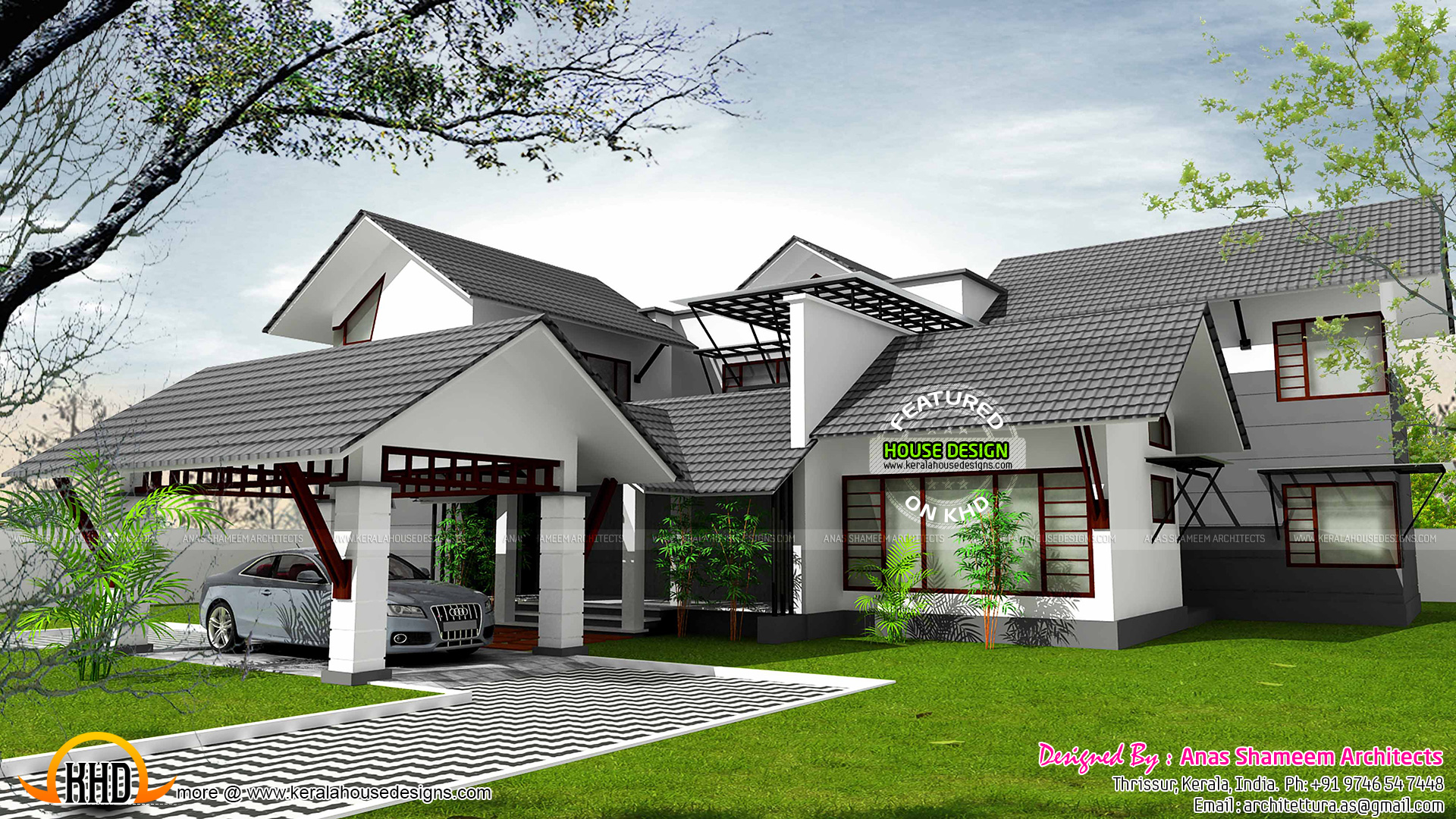 Charming Design Style : Sloped Roof. House On Sloping Plot