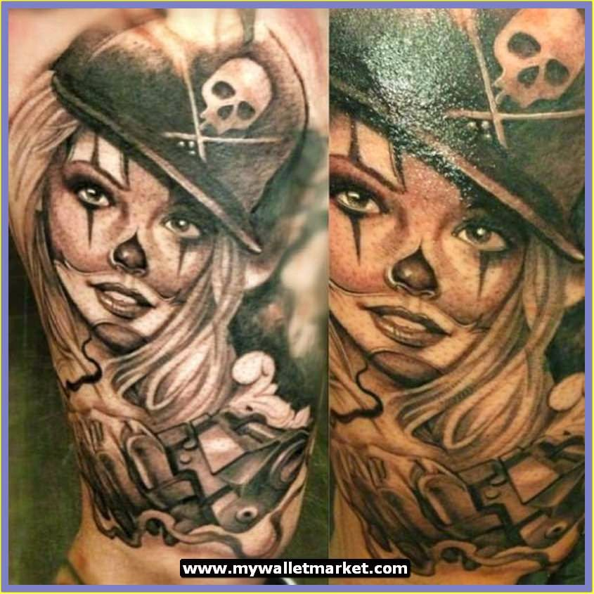 Black and white pin up girl tattoos