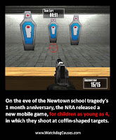 NRA, children's game, coffins, coffin shaped targets, assault rifles