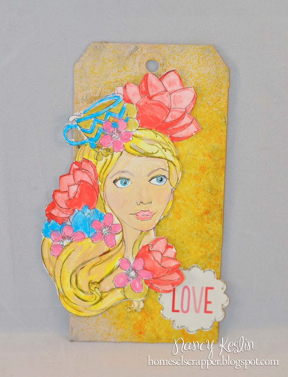 tag, mixed media, bloom girl, jamie daugherty, prima