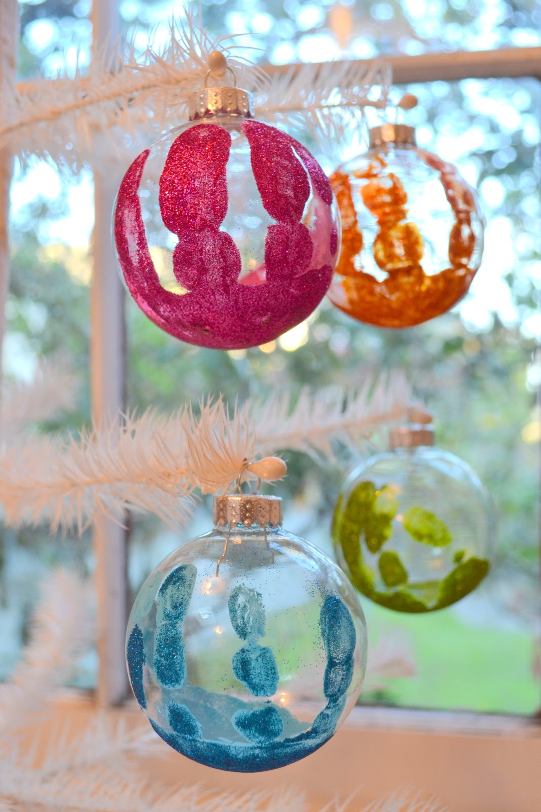 Clear christmas bulbs for crafting - Christmas Day Tradition Make Glittered Handprint Keepsake Ornaments And A Martha Stewart Crafts Glitter Wonderland Giveaway