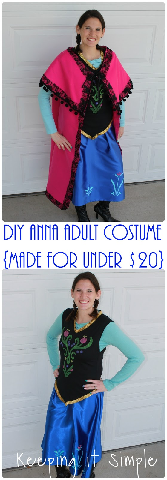 This is how I made it  sc 1 st  Keeping it Simple Crafts & Disney Frozen Halloween Costume: DIY Anna Frozen Adult Costume for ...