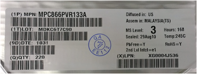 Packaging label with missing information and logo