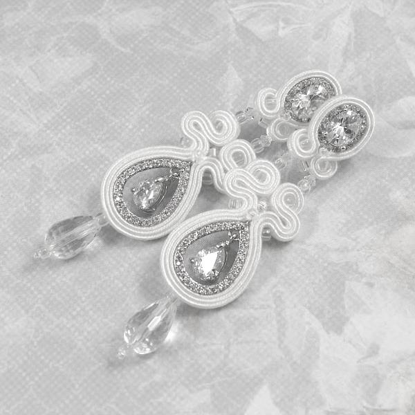 Białe kolczyki ślubne sutasz z kryształami