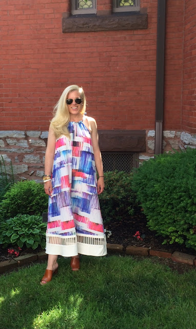 anthropologie sonora dress review blogger maryland pink and green