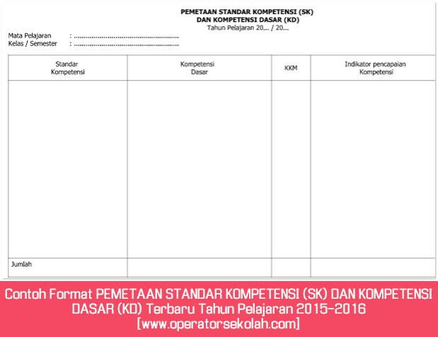 Contoh Format PEMETAAN STANDAR KOMPETENSI (SK) DAN KOMPETENSI DASAR (KD) Terbaru Tahun Pelajaran 2015-2016 [www.operatorsekolah.com]