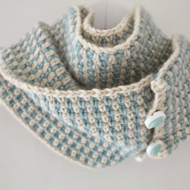 ByHaafner, crochet, cowl, woven stitch, pastel