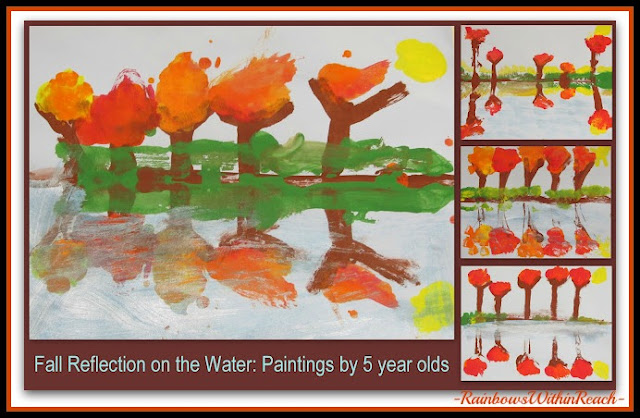 photo of: Fall Leaf Reflection Paintings in Preschool (Fall RoundUP via RainbowsWithinReach)