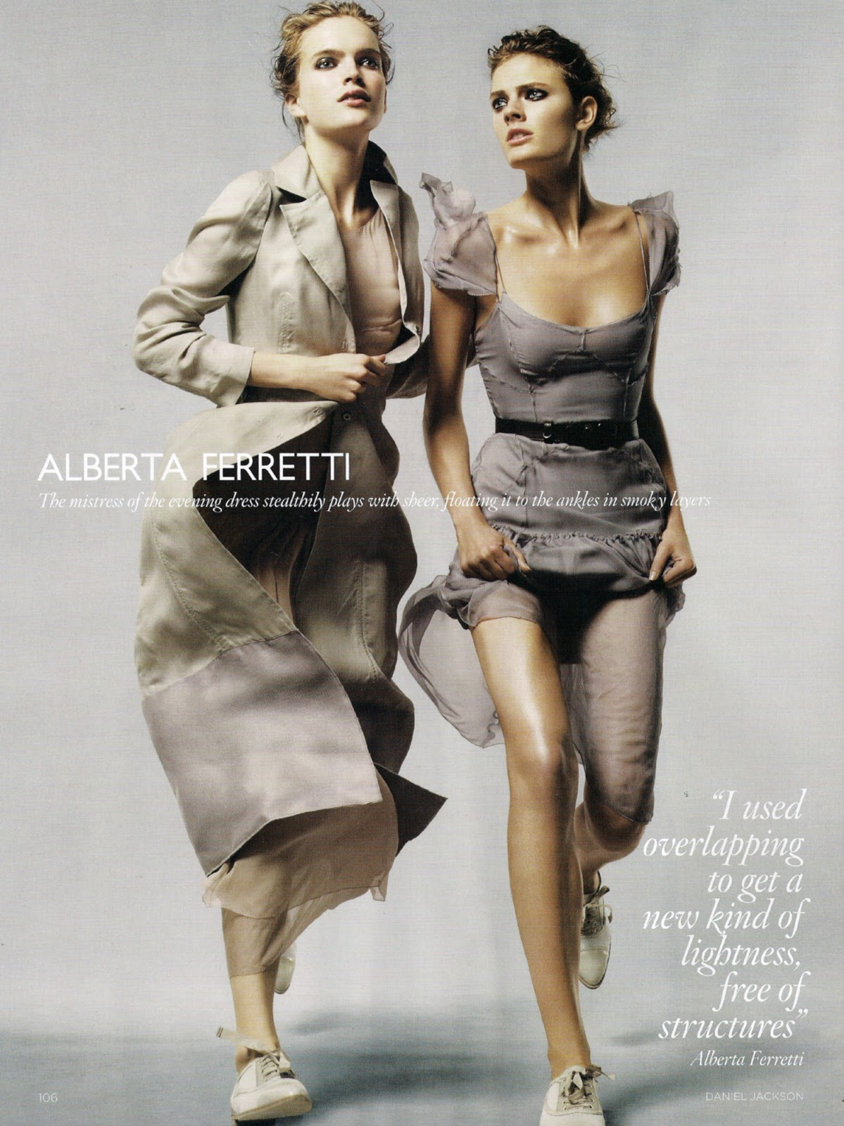 Constance Jablonski & Mirte Mass wearing Alberta Ferretti in Climate Change / Vogue UK february 2010 (photography: Daniel Jackson, styling: Kate Phelan)