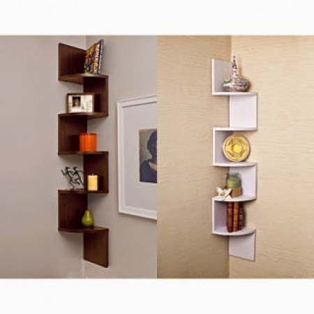 Corner type bookshelves