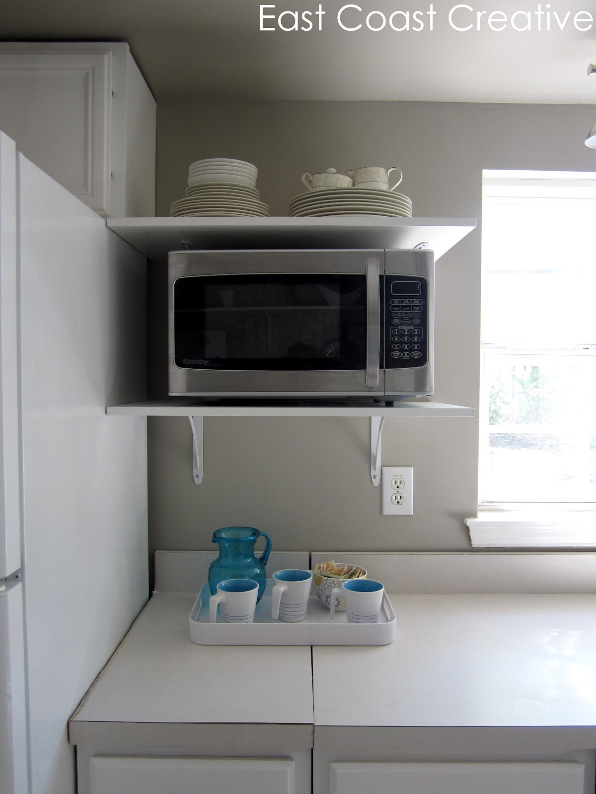 Kitchen shelves for microwave - We Finally Cut And Hung Two More Open Shelves To House Our Microwave I Gotta Tell You I So Enjoy The Extra Space On The Counters Now That Thing Is Off Of
