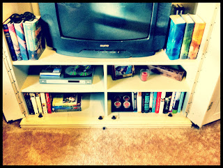 Books on the entertainment center