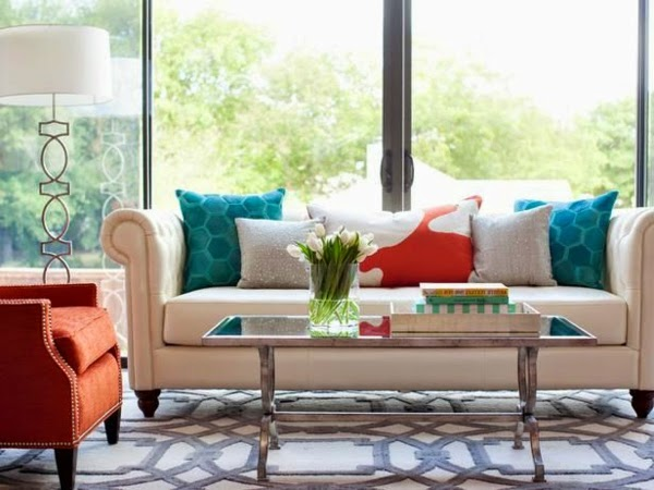 Modern Living Room Color Schemes, Furniture In White, Turquoise, Orange
