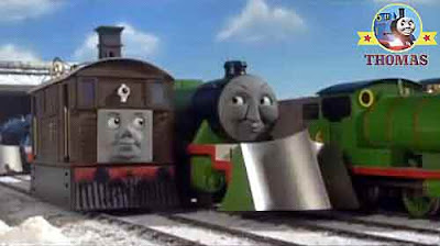 Toby tram Thomas the train and friends Percy get this stranded frozen snow ice-covered Island moving