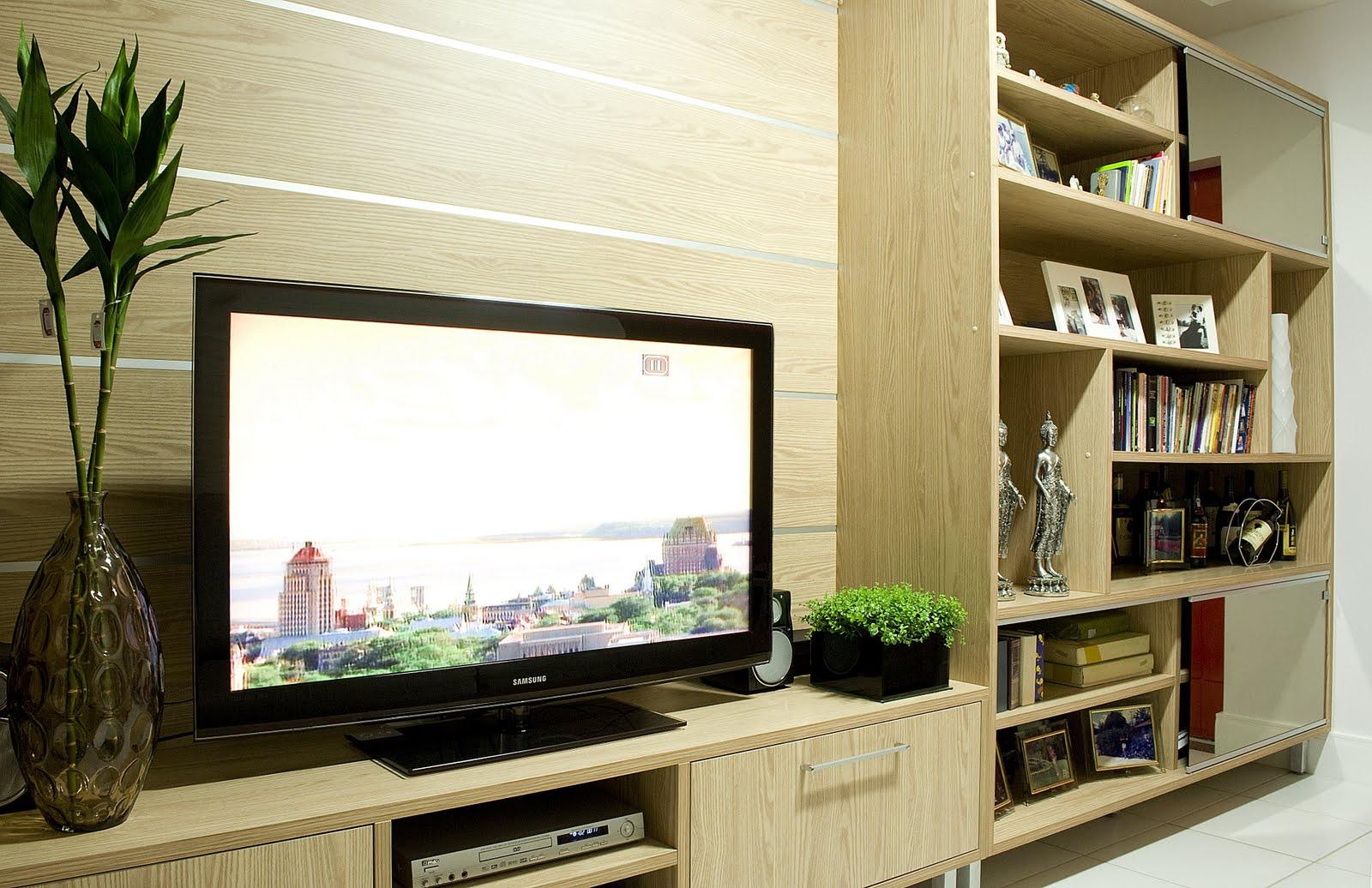 Sala De Tv Projetada ~ Nesta sala de tv, a cliente precisava de um espaço para armazenar os
