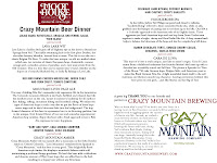 Moot House Beer Dinner Menu