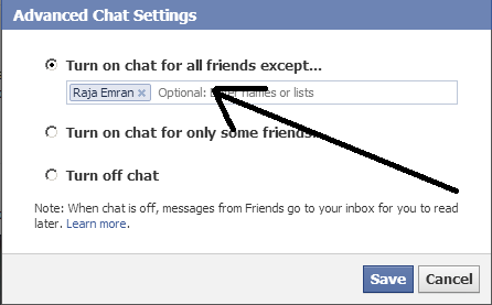 Custom offline and online setting on chat featutre
