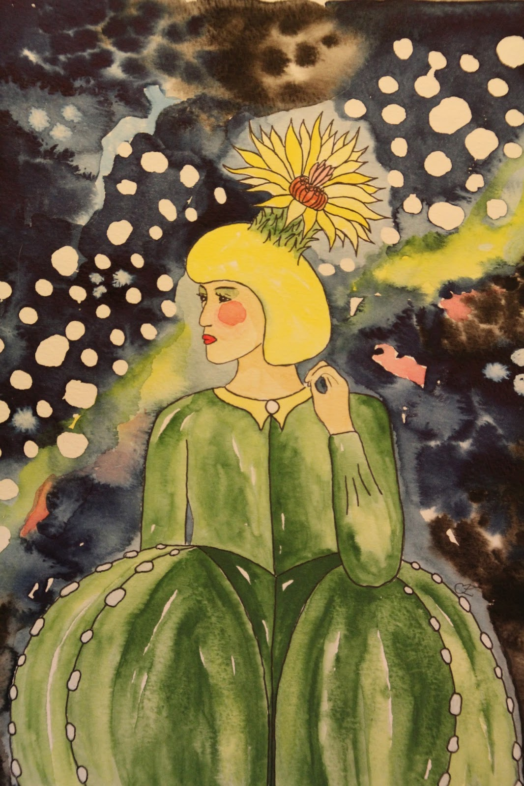 akvarell carolin zander biskopsmössa Astrophytum