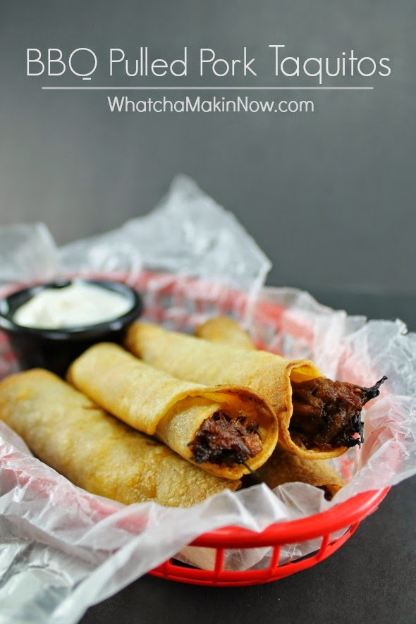 BBQ Pulled Pork Taquitos -- reinvent pulled pork leftovers and make taquitos!
