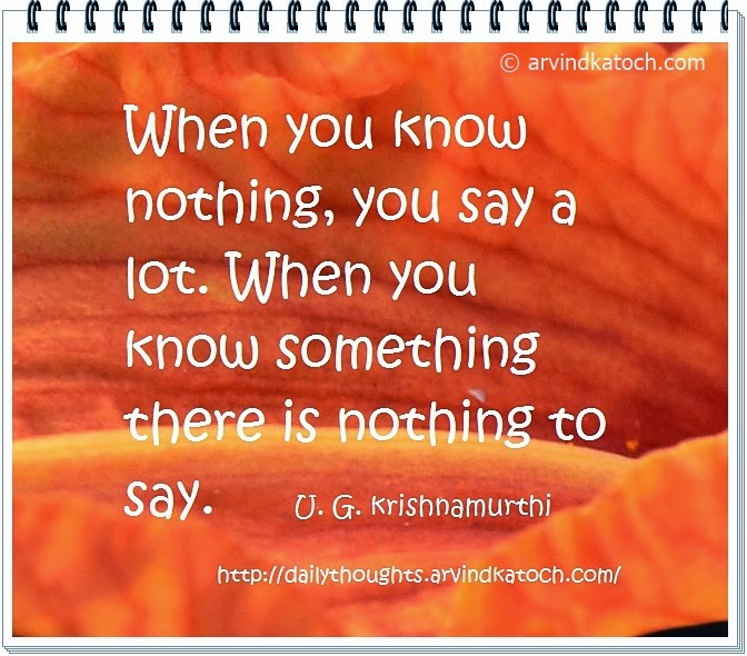 know, nothing, lot, nothing, Daily Thought, Quote