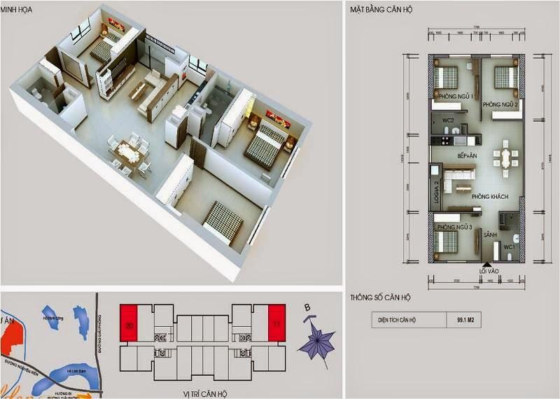 Căn số 11 - 20  DT 99,1m2. Golden Central Tower - Vinaconex 2 kim văn kim lũ