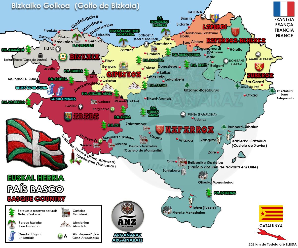 Mapa do País Basco (Euskal Herria)