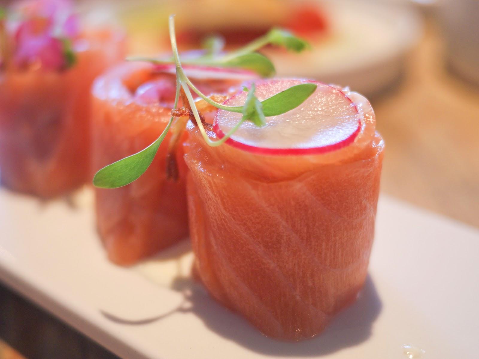 Bravas Tapas restaurant St Katherine Docks London Salmon Rulada