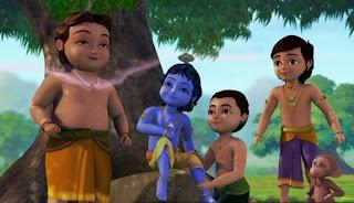 Gambar kartun krishna dan teman-temannya bermain di bawah pohon