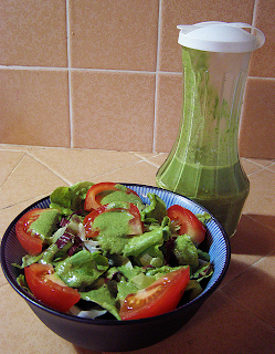 Tomato and Lettuce Dressed with Pesto Dressing