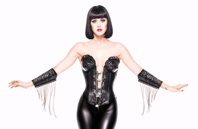 Katy Perry poses in black leather suit in an unknown photoshoot