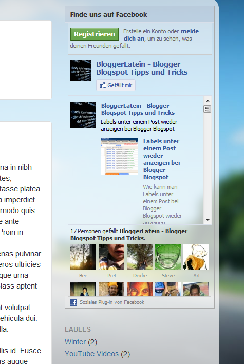 Facebook Like Box - Facebook Gefällt mir Box - Blogger Blogspot - Gadget