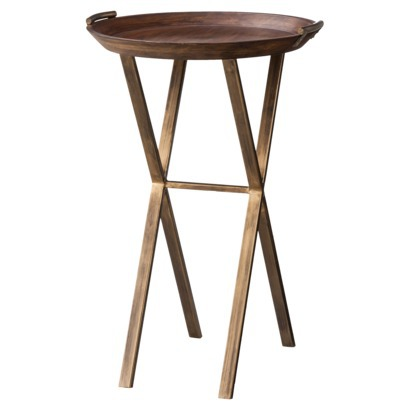 also includes this cool wood brass finish x base accent table