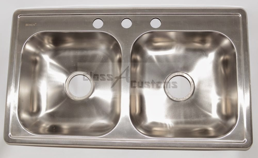 Bon 25 X 17 X 5 Stainless Steel Sink Double Bowl 3 Holes By Hengu0027s