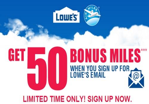 Aiir Miles 50 Free Reward Miles from Lowes