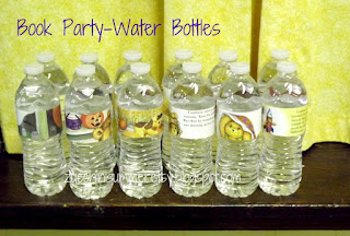 book party, library party, bookworm party, book worm party, reading party, book page water bottle wraps, water bottle wrappers, book page water bottle labels