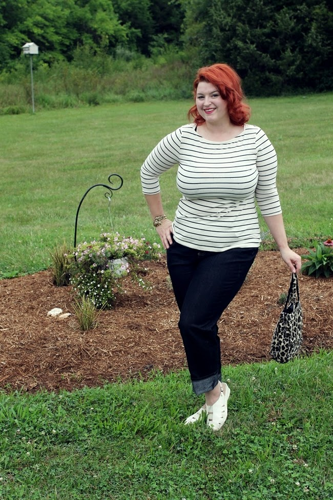 plus size retro casual jeans style