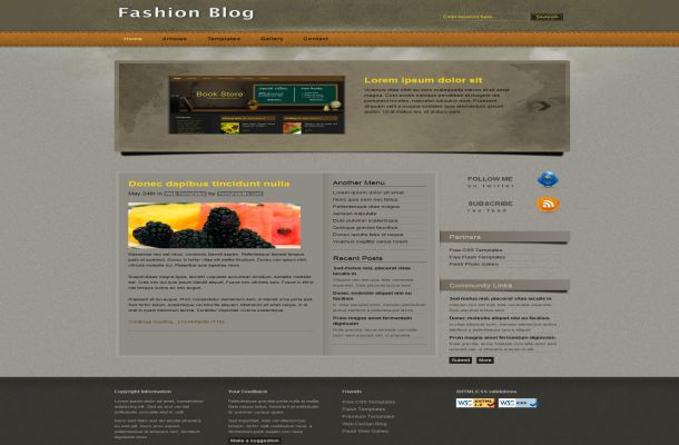 Free HTML Brown Fashion CSS Website Template
