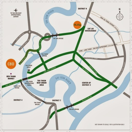 The Vista location map - Dist 2 - Ho Chi Minh , Vietnam