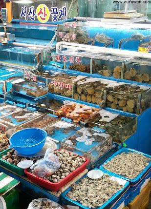 Pescado y marisco a la venta en Seúl