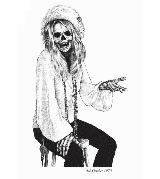 Estampa de camisa com a caveira de famosos mortos